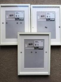 3x Ikea Ribba white box frames (30x40cm or 21x30cm with mount) brand new