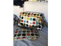 Multicoloured spot changing bag with mat from Sophia and Matt