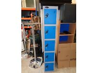 5 DOOR STEEL METAL BLUE GYM WORK LOCKERS