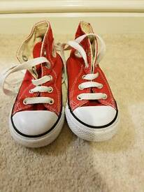 Red Converse High Tops trainers infant size 7