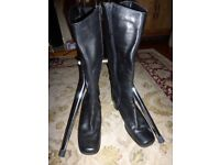 Ladies Black Leather Knee High Boots Clarks