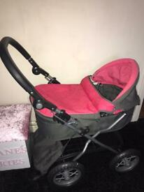 Silver cross toy pram with changing bag