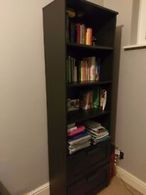 Black Bookcase with 2 Drawers