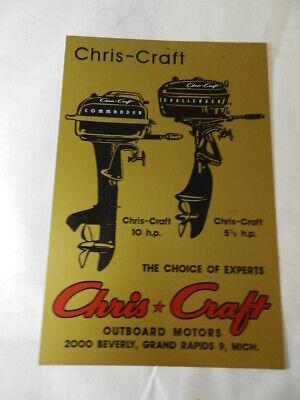 VINTAGE STYLE ADVERTISING SIGN- CHRIS-CRAFT OUTBOARD MOTORS- VINTAGE BOATING