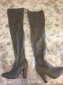 Grey size 4 thigh high boots