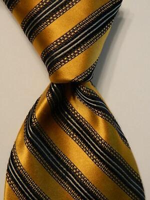 IKE BEHAR Men's 100% Silk XL Necktie USA Designer STRIPED Gold/Black/Gray GUC