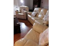 G plan cream leather settee and 2 chairs(one reclining)