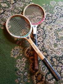 Vintage wooden tennis rackets x 2 for display