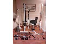 Weight bench, Lat machine, Attachments, Olympic Weights, Olympic Barbells & Accessories.