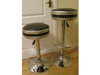 2 Silver and Black Barstools