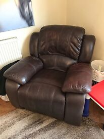 Brown Leather Recliner Armchair - Genuine Leather