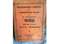 Antique vintage norton motorcycle manual