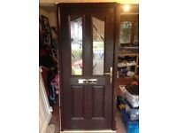 Composite Glazed Front Door - Brown Outer & White Inner - New