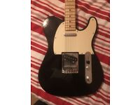 Fender Squire electric guitar with amplifier and case