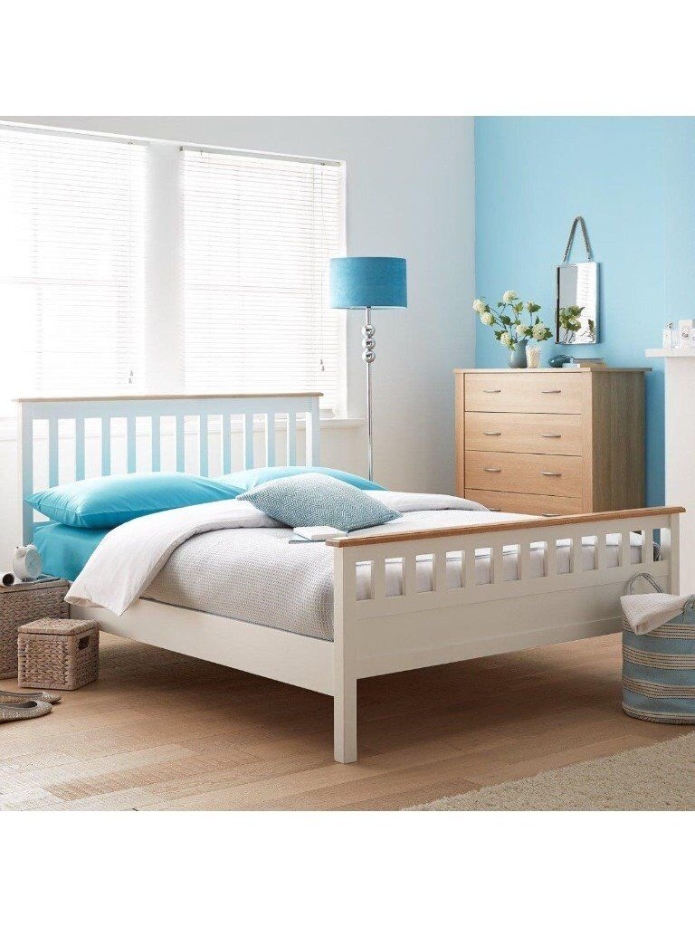 Brand New Thornton Low Foot End White Double Bed Frame Slatted Headboard Rrp 270