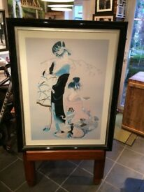 LARGE RARE VINTAGE JAPANEESE PRINT IN DOUBLE FRAM