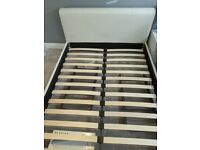 King Size Faux White Leather Bed Frame