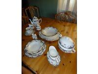 Noritaki fine china dinner and tea service for six. Vintage Rose pattern.