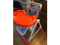 Baby High Chair + Fisher Rainforest Jumperoo + Fisher Kick and Play Piano Gym