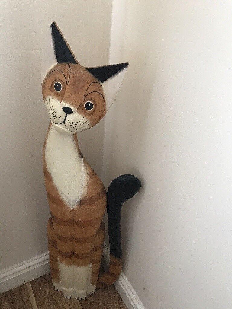 Wooden cat 85cm high