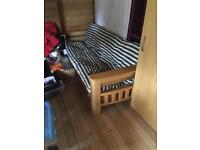 Oak framed fri folding futon with storage in arms and reversible mattress