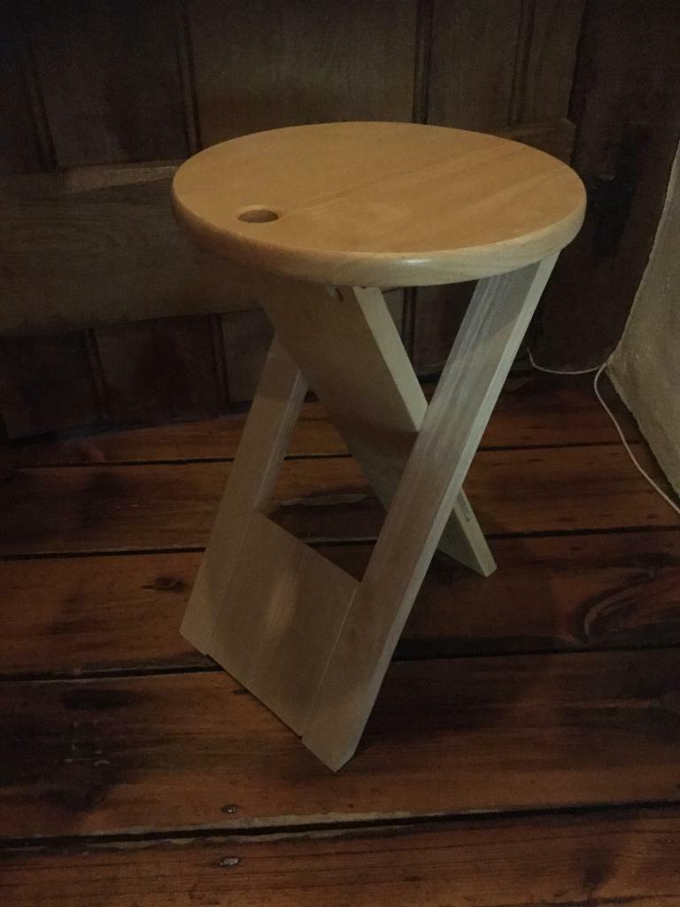Fabulous Pine Circular Folding Table Stool In Ottershaw Surrey Gumtree Ibusinesslaw Wood Chair Design Ideas Ibusinesslaworg