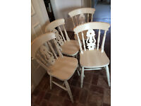 Solid Pine Fiddle Back Chairs painted in Eggshell.