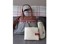 Babymel Cara Stripe Navy Changing Bag with insulated bottle holder and padded change mat