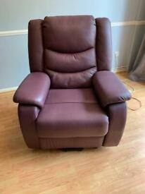 Strada leather rise and recline armchair
