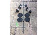 BODY POWER CAST IRON WEIGHTS SET WITH DUMBBELLS AND BAR