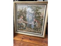 Antique Tapestry Picture Wooden Frame