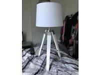 Bedroom tripod lamp white