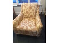 Beautiful large armchair, very comfy with brass front wheels
