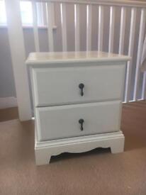 Laura Ashley White / Cream Bedside Table Locker