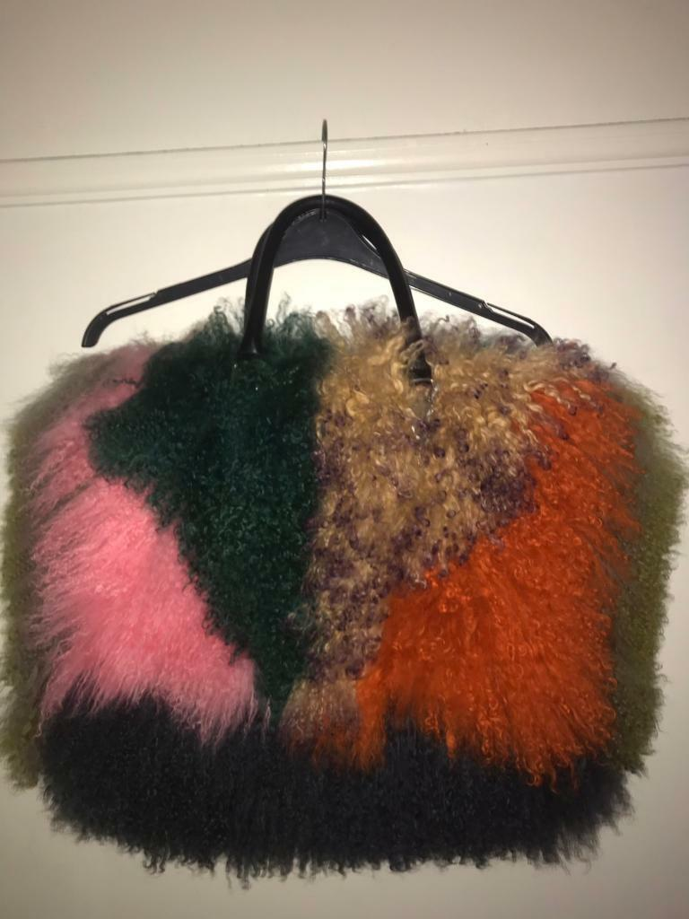 4302b26c1037 River island Mongolian Fur big bag pink orange