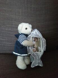 Cute sailor teddy bear with photo frame.......NEW