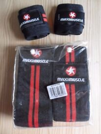 Maximuscle wrist straps and knee straps