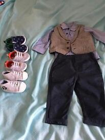 Boys 6-9 months suit and shoes