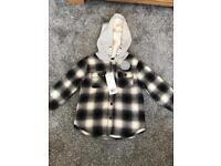 2-3years grey & black fleece lined shirt