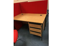 30 x Oak straight office desks with fixed pedestals