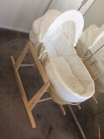 Clair De Lune Moses Basket with stocking Stand - Shooting Stars