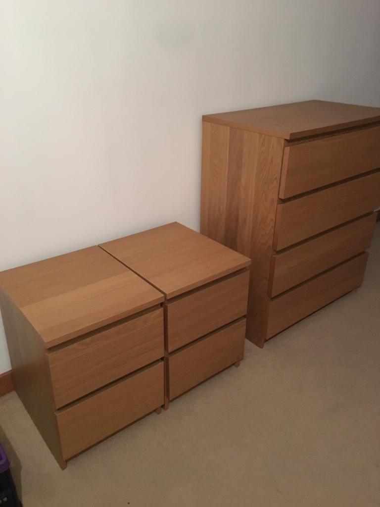 Ikea malm oak veneer two drawer bedside tables