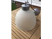 IKEA KALCIUM LARGE RIBBED GLASS PENDANT INDUSTRIAL STYLE CEILING LAMP / LIGHT T9718