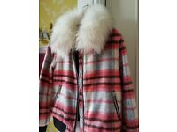RIVER ISLAND GIRLS PINK CHECK JACKET WITH FAUX FUR COLLAR