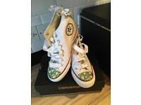 Pimped out wedding wedged converse