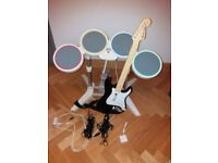 Nintendo Wii Rockband Drum Kit and Instrument (Guitar), 2 microphones + 5 games