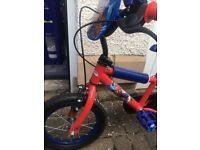 Kids spider man 14 inch bike