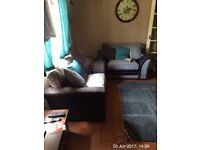 Grey Cuddle Chairs x2 and footrests