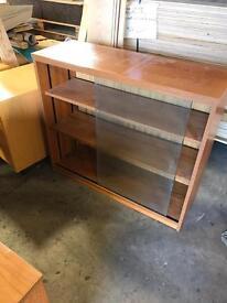 Team Veneer Office Cupboard & Glass Bookshelf