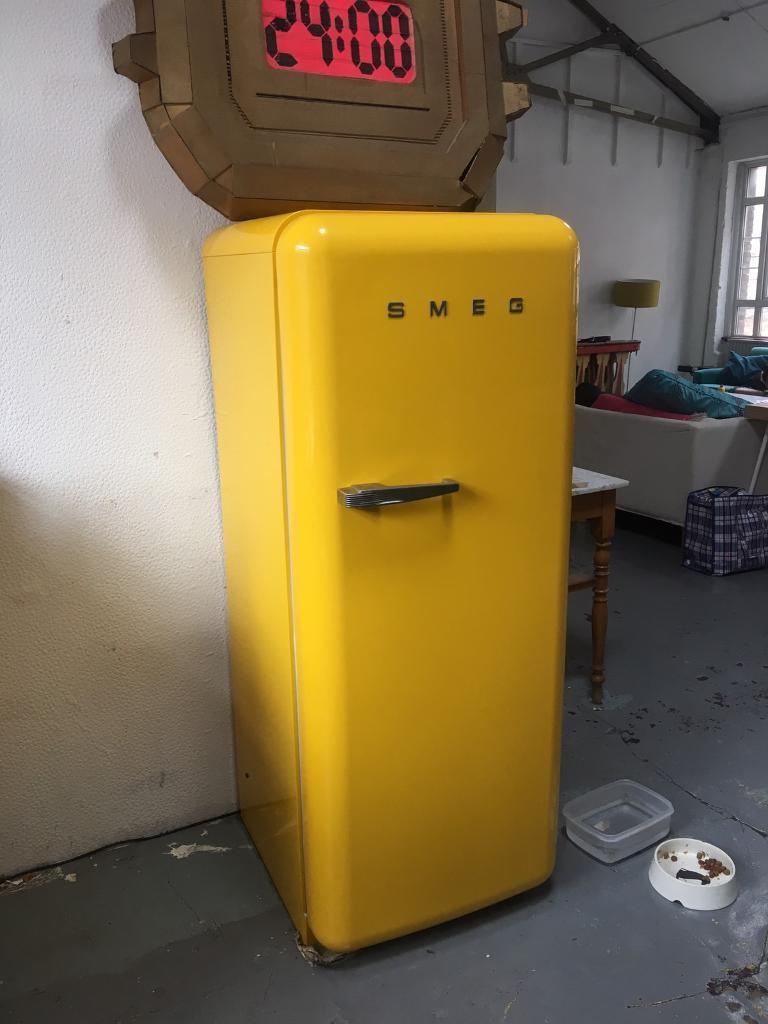 Pristine Yellow Smeg Fridge Freezer
